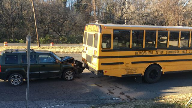 1 child taken to hospital after SUV hits back of Head Start school bus
