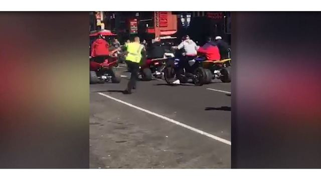 Metro officer dragged by four-wheeler after massive group of bikers take over Broadway