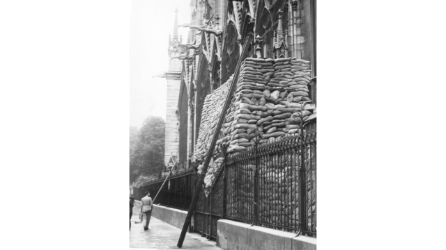 WWII France Paris Cathedral Sandbagged_1555352750152
