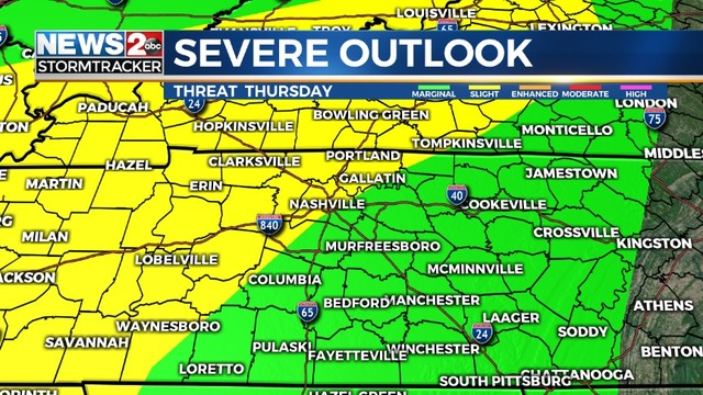 a2b7f5ac5bf3f Severe storms possible Thursday across Middle Tennessee